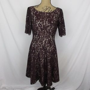 Eliza J Dress Eggplant Lace Nude Liner
